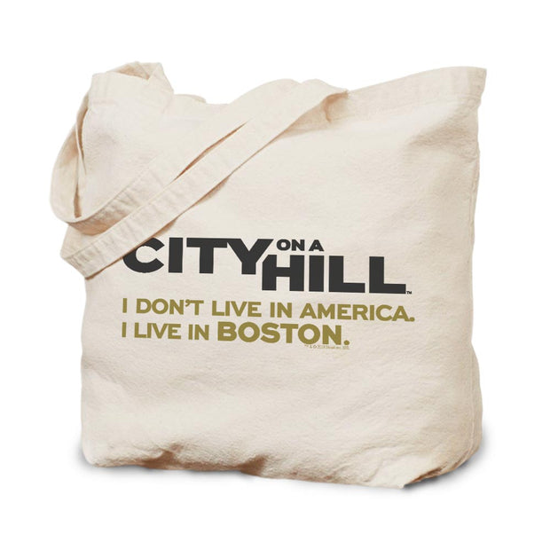 City on a Hill I Don't Live in America Canvas Tote