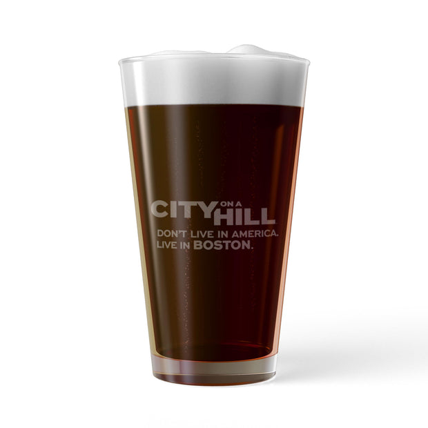 City on a Hill I Don't Live in America Laser Engraved Pint Glass