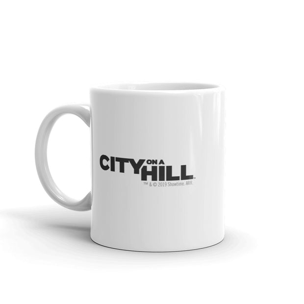 City on a Hill Skyline White Mug