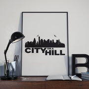 City on a Hill Skyline Premium Satin Poster