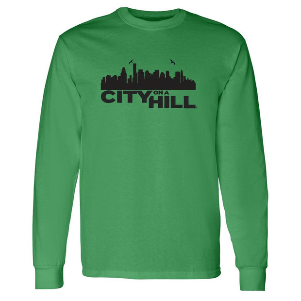 City on a Hill Skyline Adult Long Sleeve T-Shirt