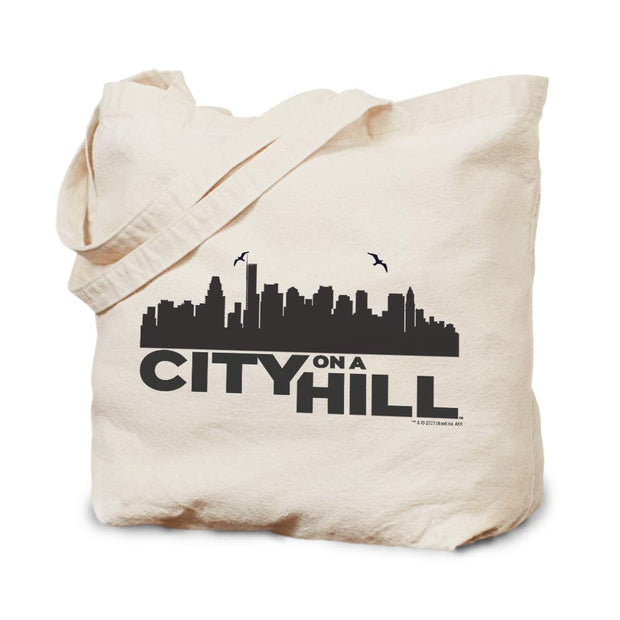 City on a Hill Skyline Canvas Tote