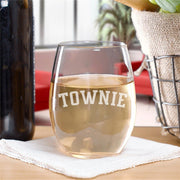 City on a Hill Townie Laser Engraved Stemless Wine Glass
