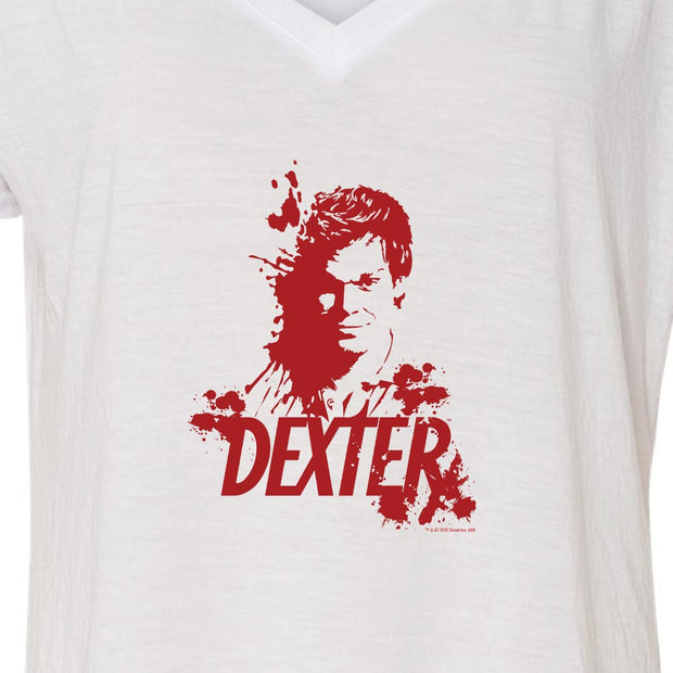 Dexter Blood Spatter Dexter Women's Relaxed V-Neck T-Shirt