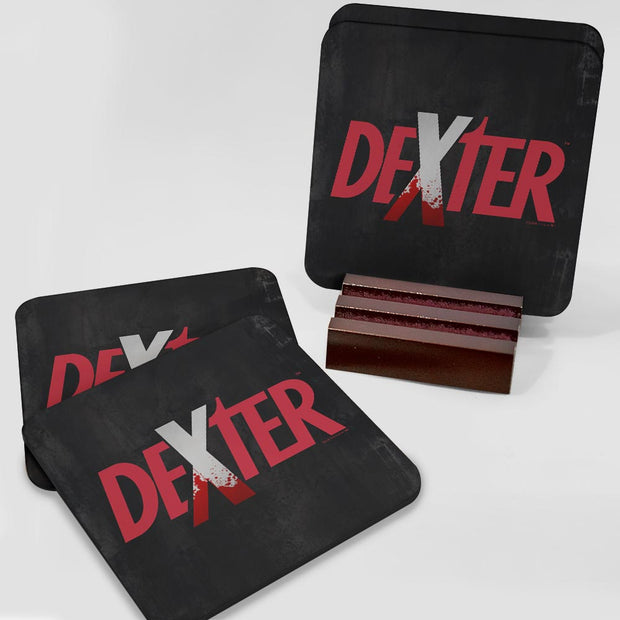 Dexter Splatter Logo Hardwood Coaster with Mahogany Holder - Set of 4