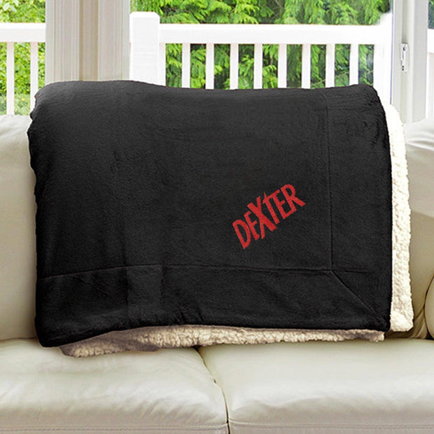 Dexter Embroidered Sherpa Throw Blanket