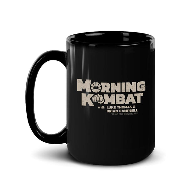 Morning Kombat Logo with Names Black Mug