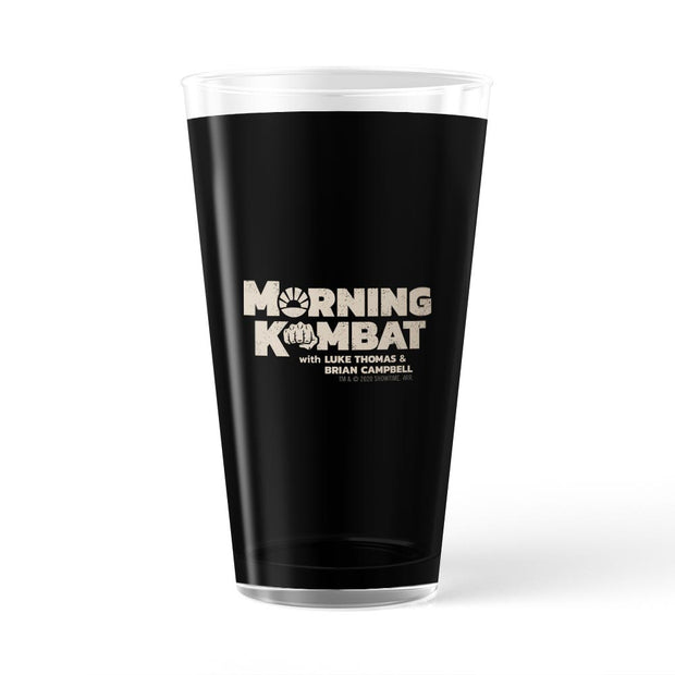 Morning Kombat Logo with Names 17 oz Pint Glass