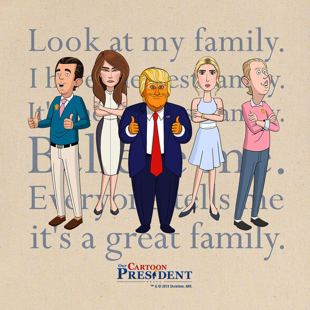Our Cartoon President Trump Family Canvas Tote Bag