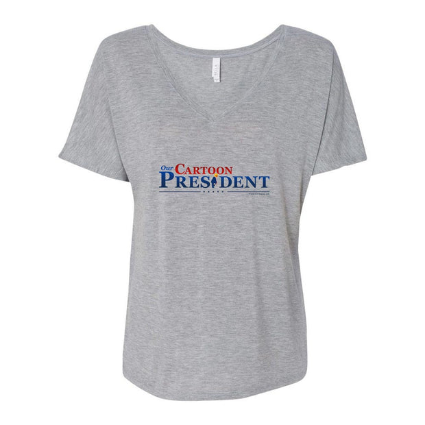 Our Cartoon President Logo Women's Relaxed V-Neck T-Shirt