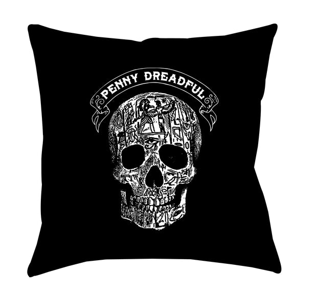 "Penny Dreadful Line Art Skull Throw Pillow - 16"" x 16"""