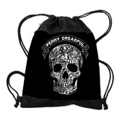 Penny Dreadful Line Art Skull Drawstring Bag