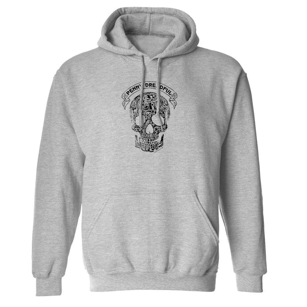 Penny Dreadful Line Art Skull Fleece Hooded Sweatshirt
