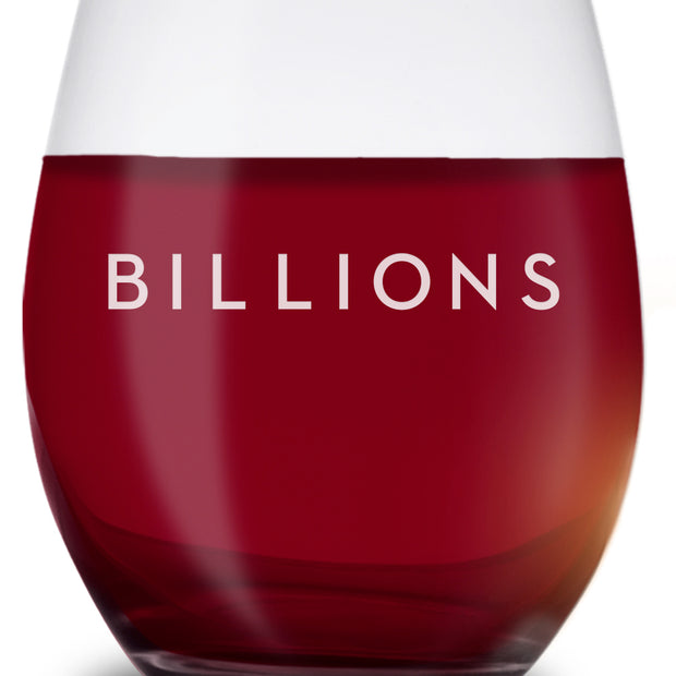 Billions Logo Stemless Wine Glass