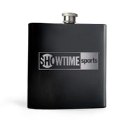 SHOWTIME Sports Black & White Outline Logo Laser Engraved Flask