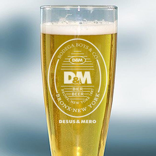 Desus & Mero Beer Label 16 oz Laser Engraved Pilsner Glass