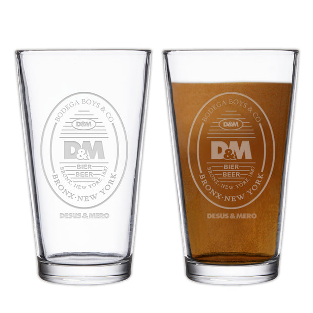Desus & Mero Beer Label Pint Glass