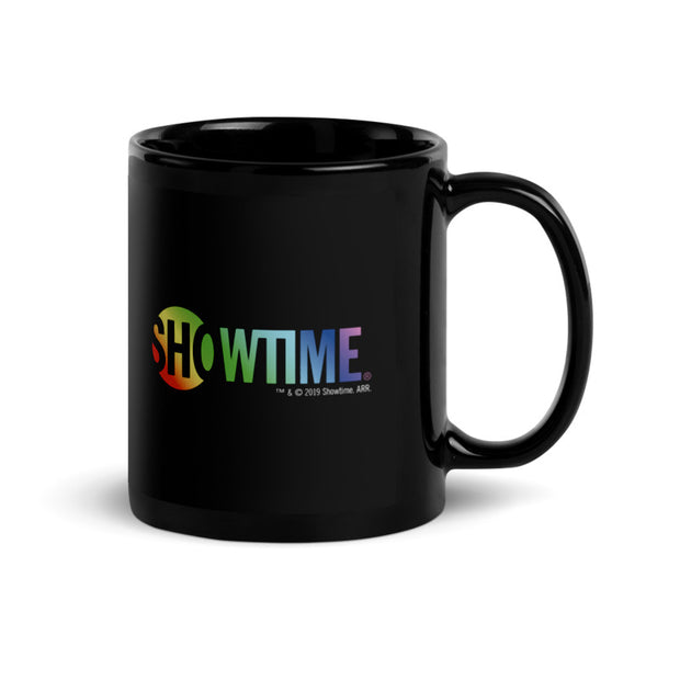 SHOWTIME Personalized Pronouns Pride Logo 11 oz Black Mug