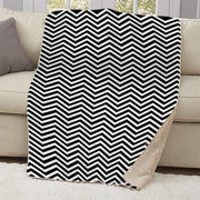 Twin Peaks Black and White Chevron Sherpa Blanket