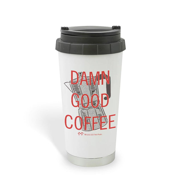 Twin Peaks Damn Good Coffee French Press 16 oz Stainless Steel Thermal Travel Mug