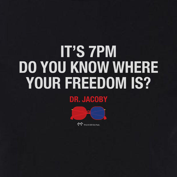 Twin Peaks t's 7PM Do You Know Where Your Freedom Is? Adult Short Sleeve T-Shirt