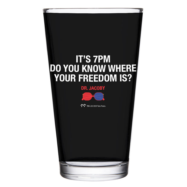 Twin Peaks It's 7PM Do You Know Where Your Freedom Is? 17 oz Pint Glass