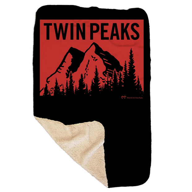 Twin Peaks Red Mountain Range Sherpa Blanket