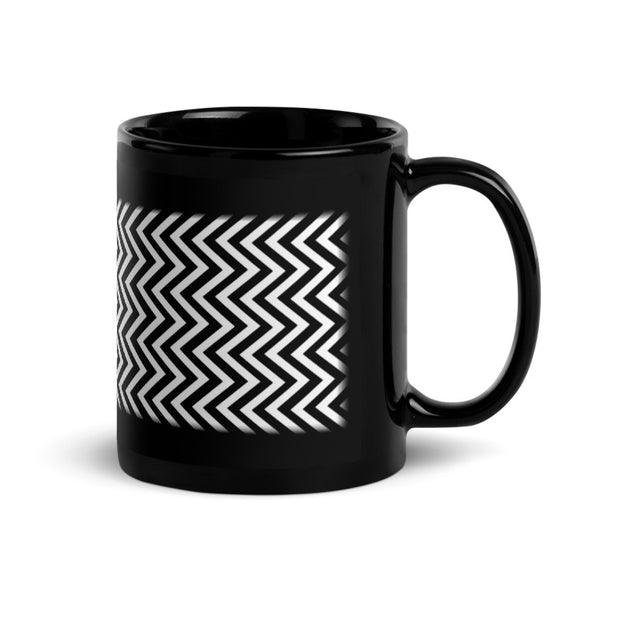 Twin Peaks Red Room Black and White Chevron Personalized 11 oz Black Mug