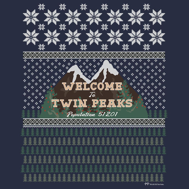 Twin Peaks Welcome to Twin Peaks Ugly Holiday Fleece Crewneck Sweatshirt