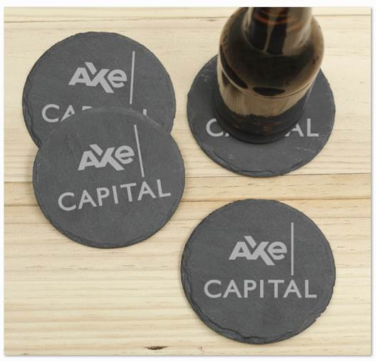 Billions Axe Capital Stacked Logo Laser Engraved Slate Coaster - Set of 4
