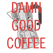Twin Peaks Damn Good Coffee French Press 15 oz Two-Tone Mug