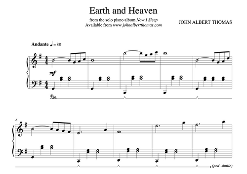 Earth and Heaven - Sheet Music