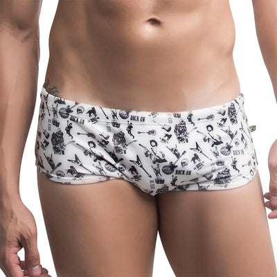 Sunga ROCK ON Estampada Branco e Preto  -  Moda Praia Masculina