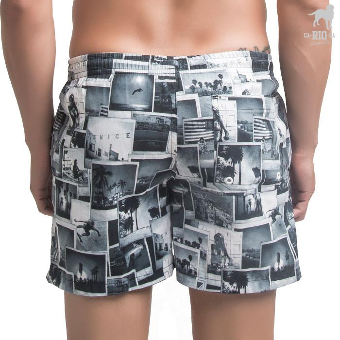 Shorts VENICE BEACH Estampado Preto e Branco  - Board Shorts Masculino