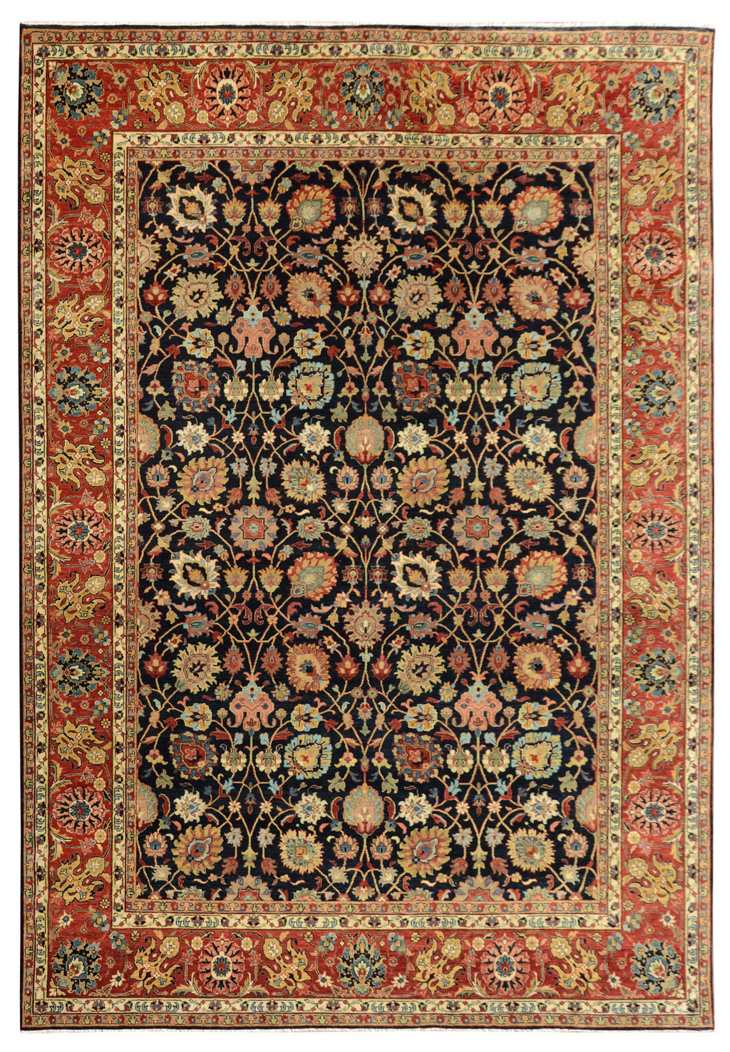 Sera Collection Wool Rug Navy/Red 9'1x12'1