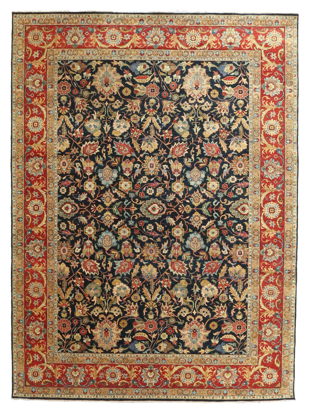 "Sera Collection Wool Rug Navy/Red 8'3""x11'3"""