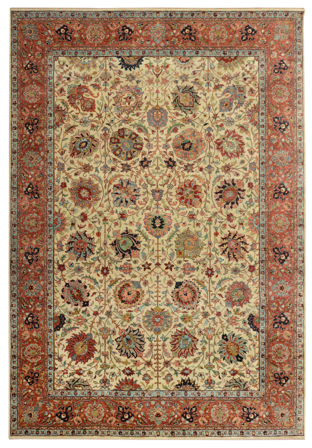 "Sera Collection Wool Rug Ivory/Red 7'6""x10'"