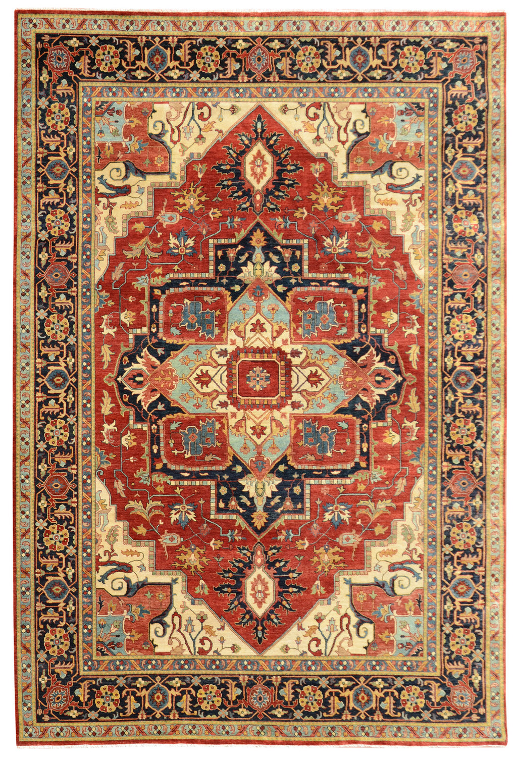 Sera Collection Wool Rug Red/Navy 8'x10'