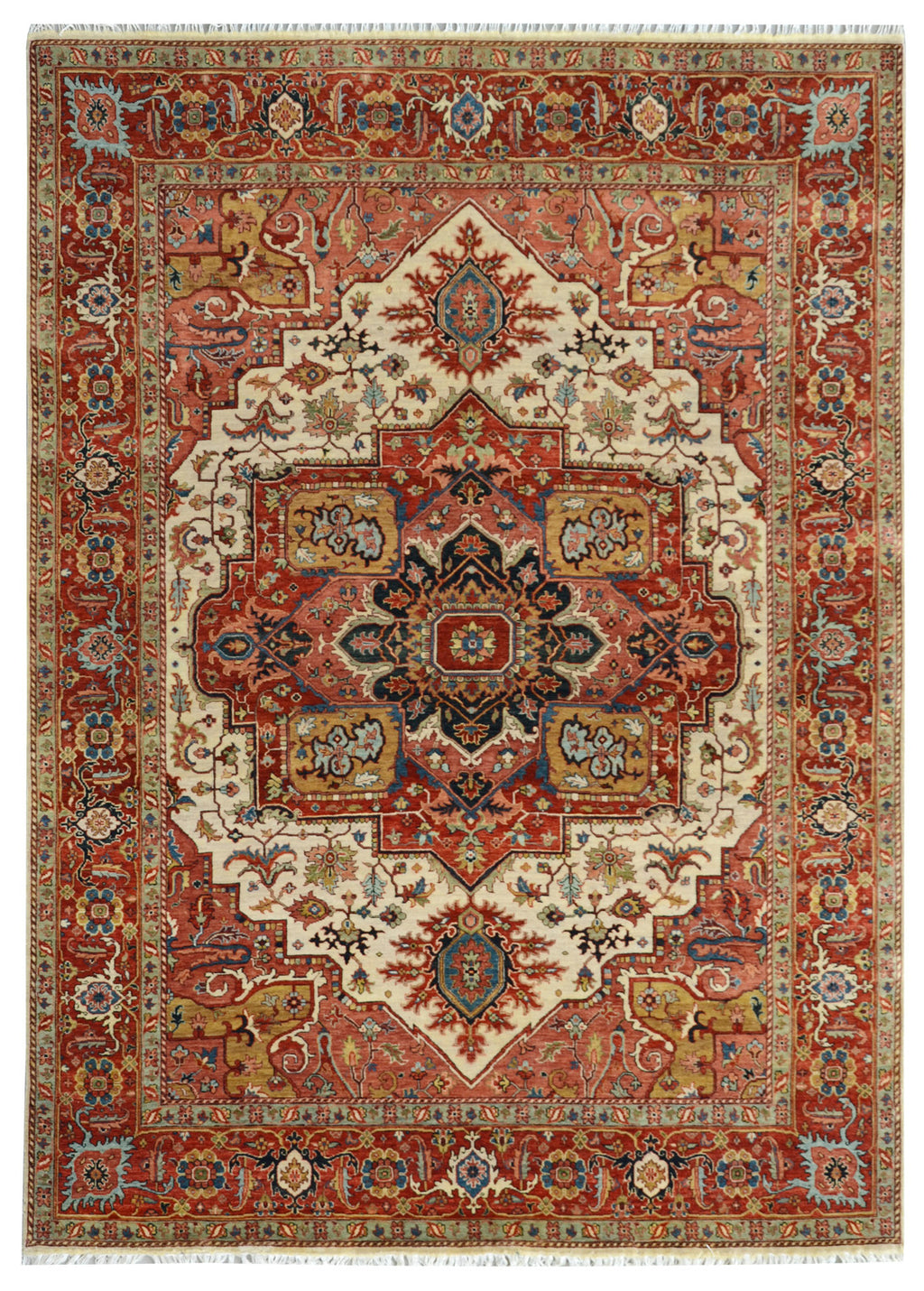 "Sera Collection Wool Rug Ivory/Red 8'1""x10'2"""