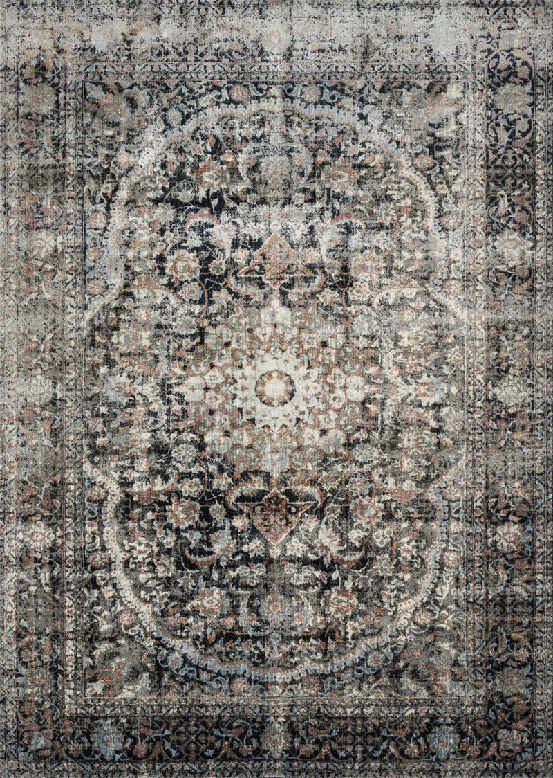 ANASTASIA Collection Rug  in  CHARCOAL / SUNSET Gray Runner Power-Loomed Polypropylene/Polyester