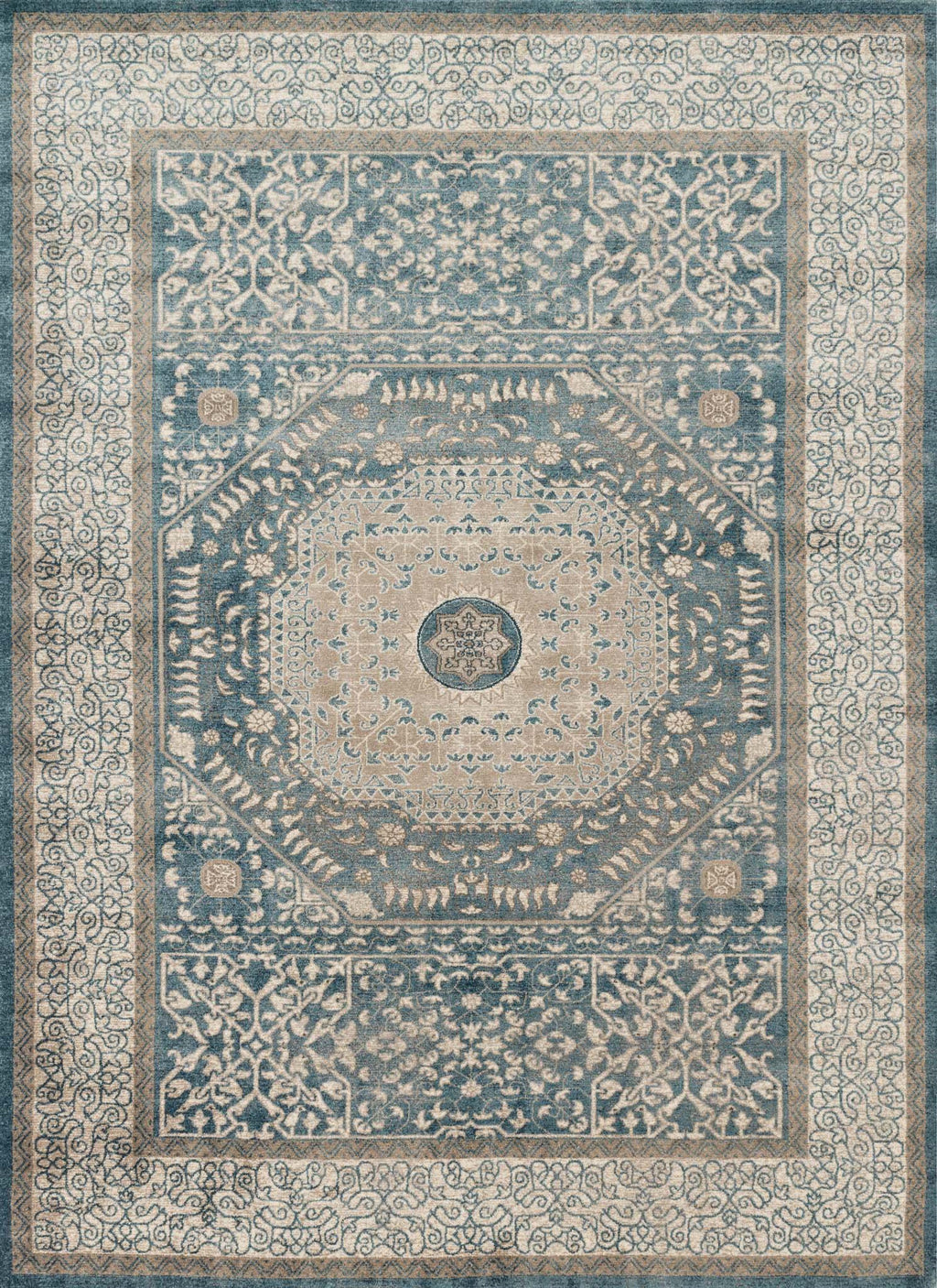 CENTURY Collection Rug  in  BLUE / SAND Blue Runner Power-Loomed Polypropylene