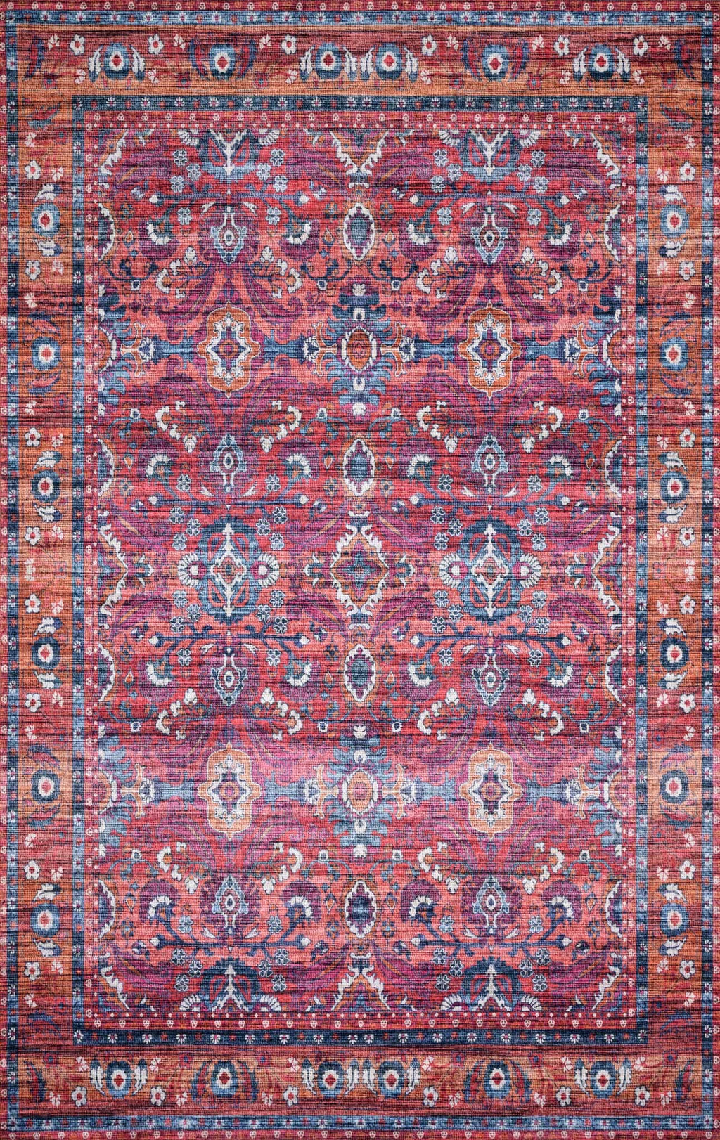 CIELO Collection Rug  in  BERRY / TANGERINE Red Runner Power-Loomed Polyester