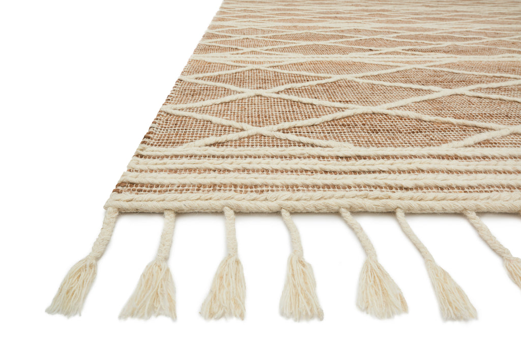CORA Collection Rug  in  BLUSH / WHITE Red Accent Hand-Woven Viscose/Acrylic