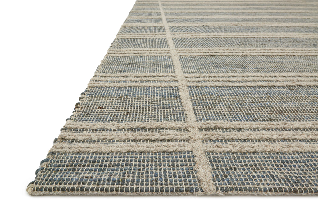 CORA Collection Rug  in  FROST / NATURAL Green Accent Hand-Woven Viscose/Acrylic