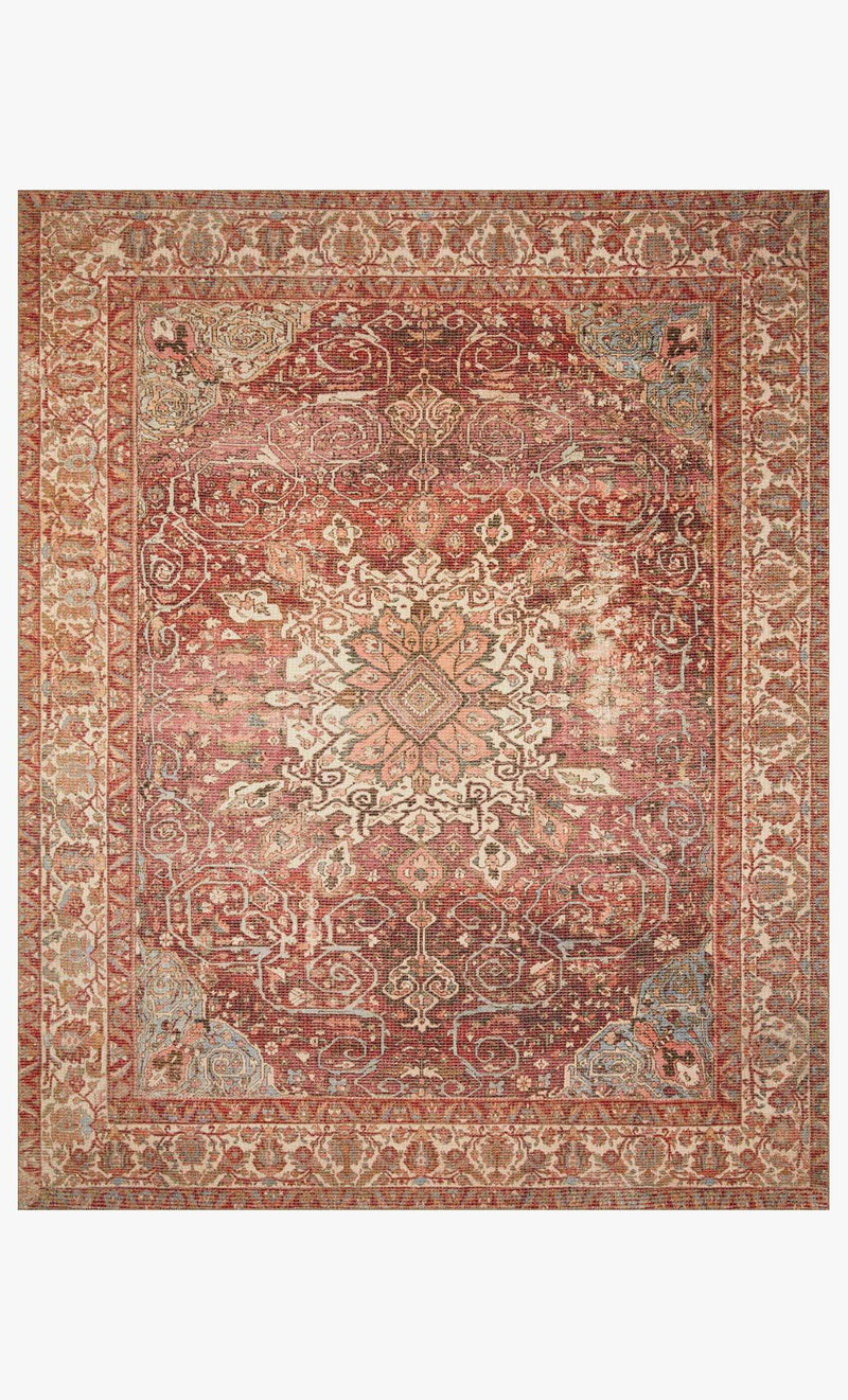 Deven Collection Rug in BORDEAUX / MULTI