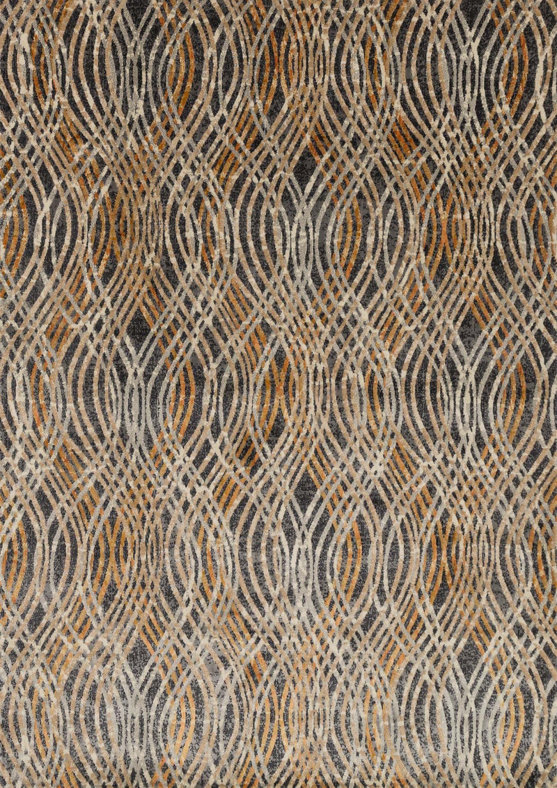 DREAMSCAPE Collection Rug  in  CHARCOAL / GOLD Gray Runner Power-Loomed Polypropylene/Polyester