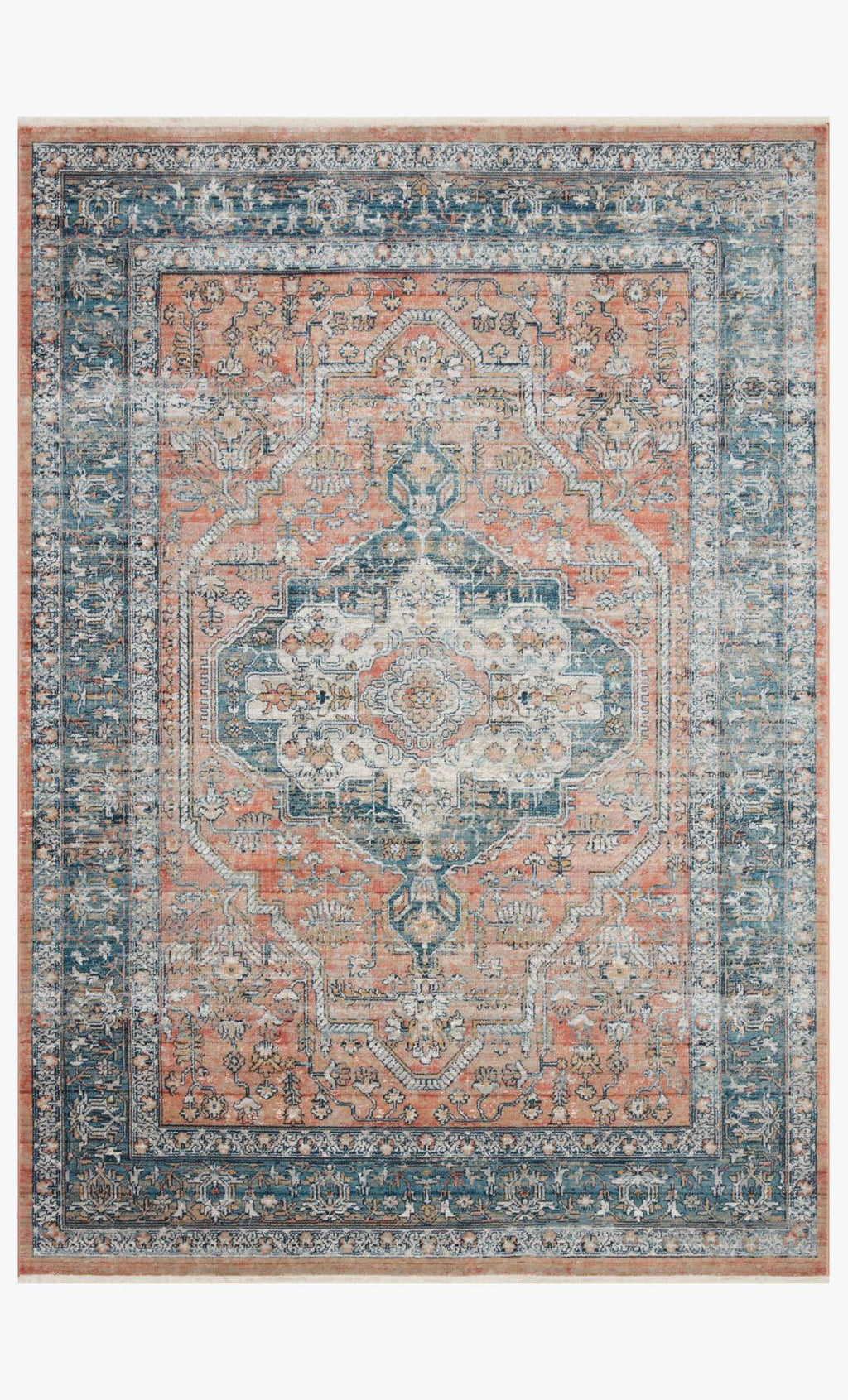 Elise Collection Rug in CORAL / BLUE