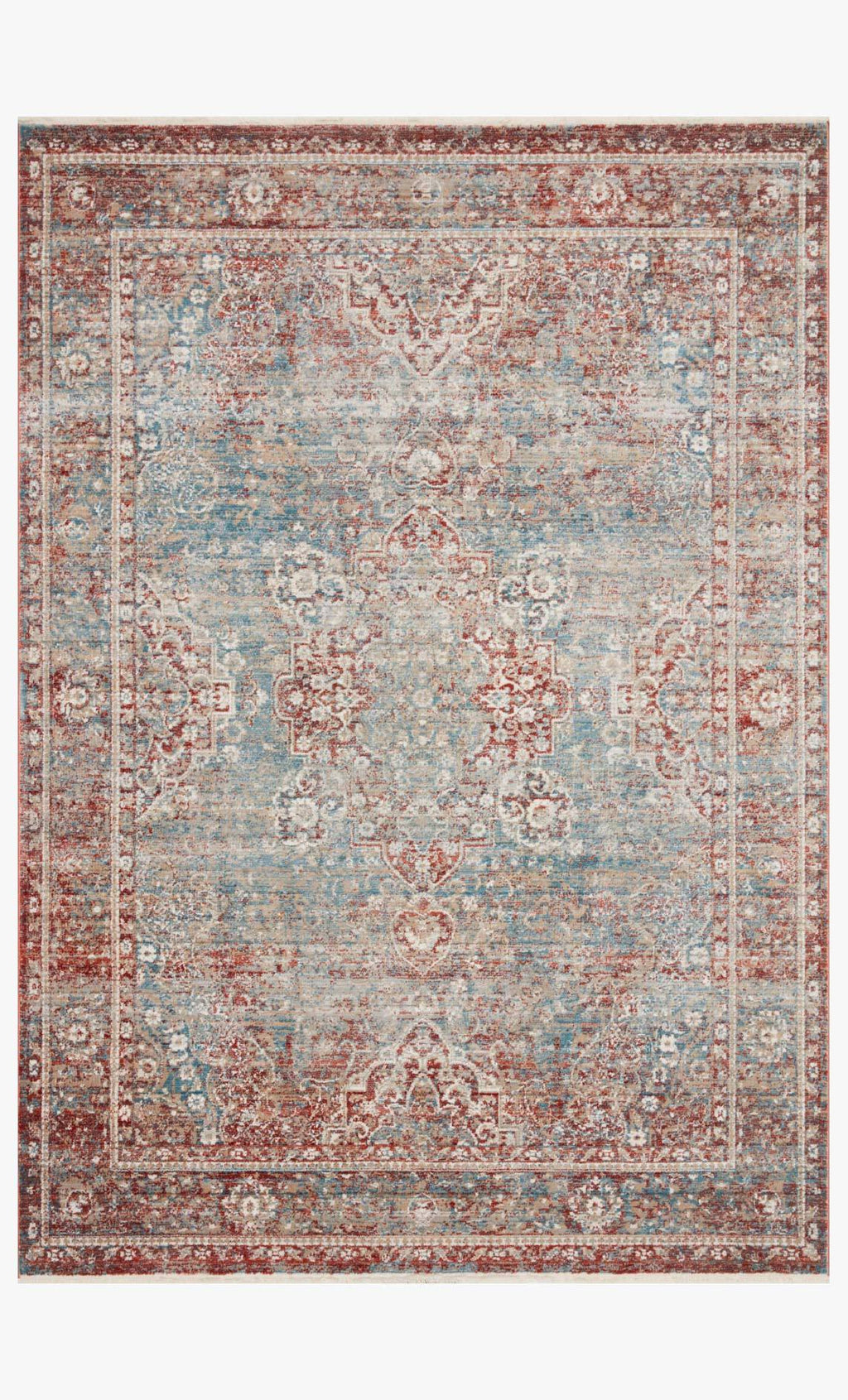 Elise Collection Rug in SKY / RED