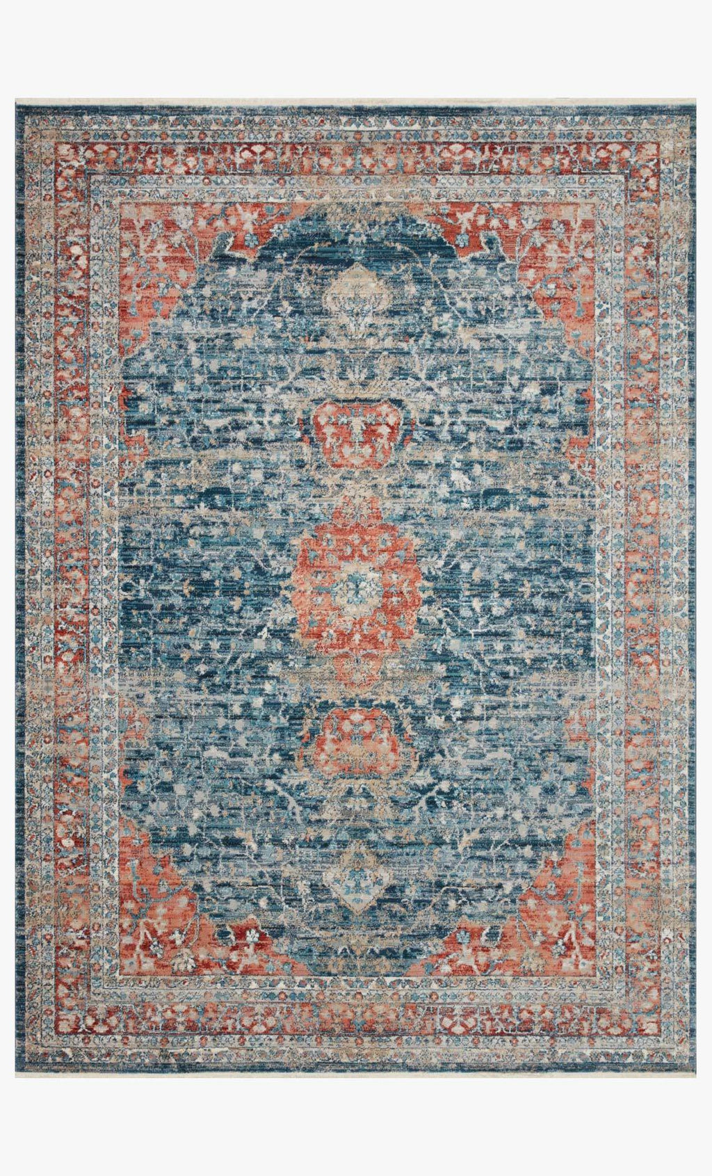 Elise Collection Rug in NAVY / RED