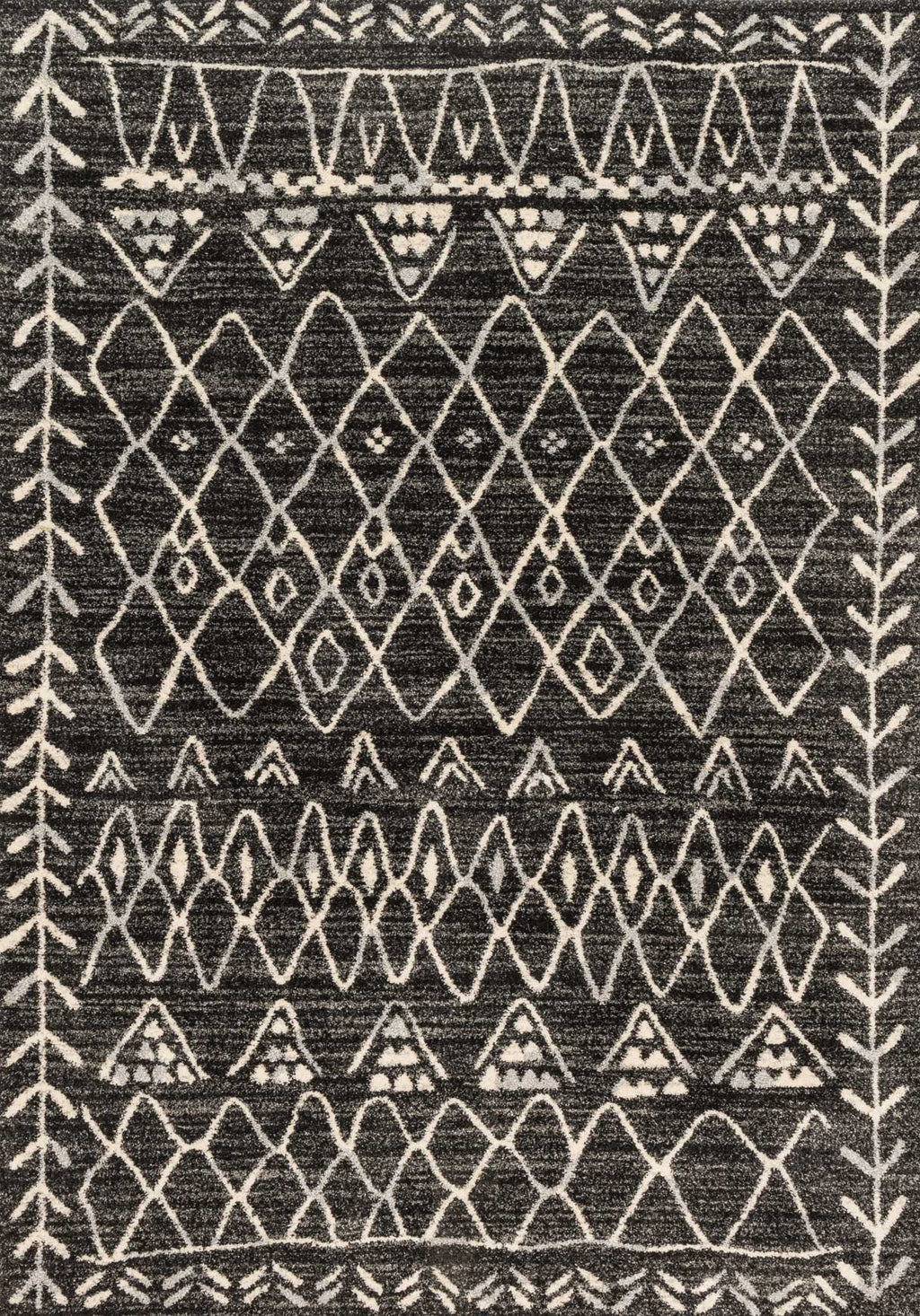 EMORY Collection Rug  in  BLACK / IVORY Black Runner Power-Loomed Polypropylene